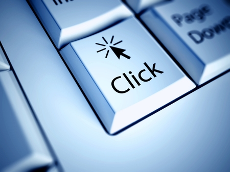 click here: Keyboard with Click button, internet concept