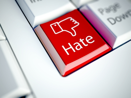 not confirm: Keyboard with Hate button, social network concept Stock Photo