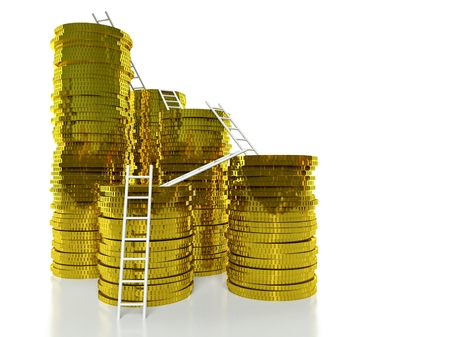 Ladders on golden coins stacks, finance concept photo