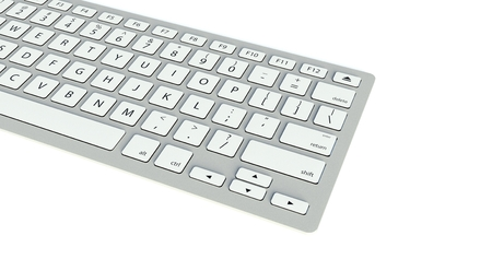 Modern computer keyboard on white background photo
