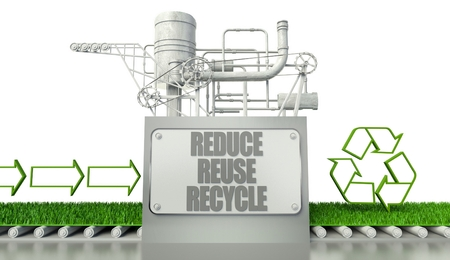 Reduce reuse recycle concept with eco symbol and arrow signs photo