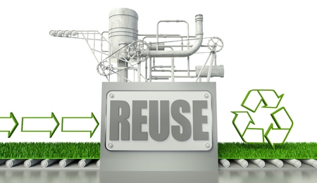Reuse concept with recycle symbol and arrow signs photo