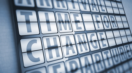 Time for change information on display board, business concept Stock Photo