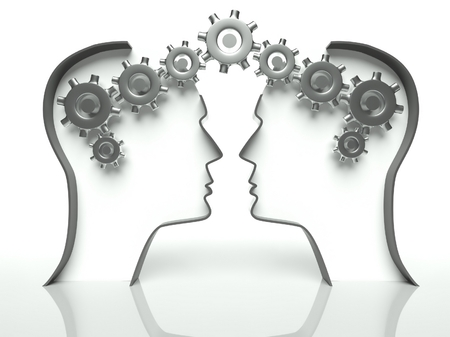 togetherness: Brains made of gears in heads, concept of thinking and cooperation with communication
