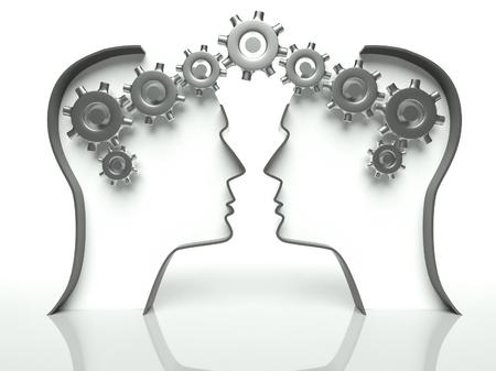 Hersenen gemaakt van tandwielen in hoofden, concept van denken en samenwerking met communicatie