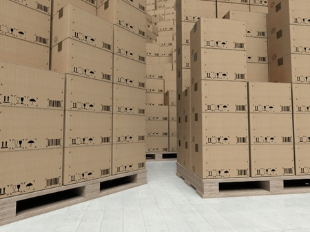 Cardboard boxes on wooden paletts, inside the full warehouse photo