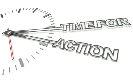 operation for: Clock with the words Time for action, concept of business