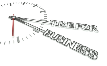 Clock with the words Time for business, concept of development photo