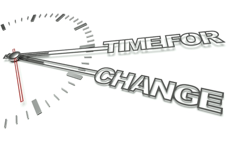 Clock with the words Time for change, concept of innovation photo