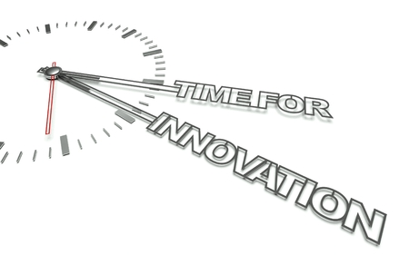 Clock with the words Time for innovation, concept of change photo