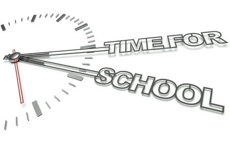 Clock with the words Time for school, concept of learning photo