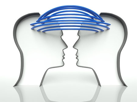 two minds: Connected heads profiles, concept of communication and teamwork