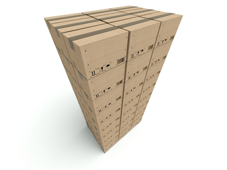 High stack of cardboard boxes isolated on white background photo