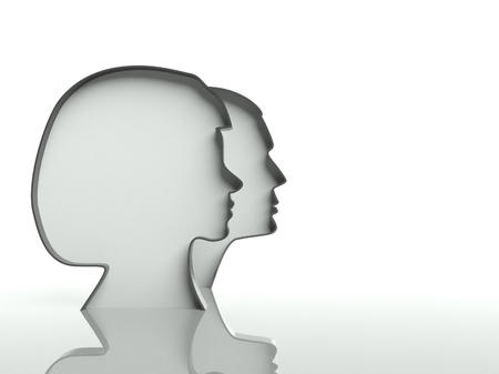 Man and woman faces profiles on white background, text space photo