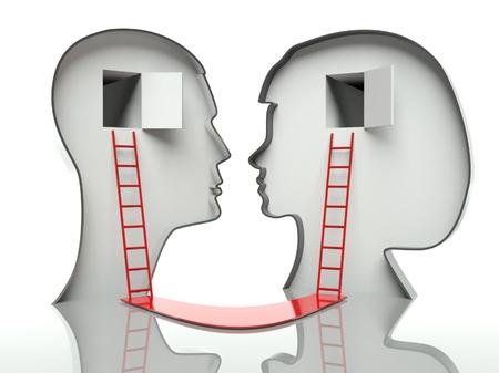 Man en vrouw aan het hoofd profielen met ladders en pad, concept van communicatie