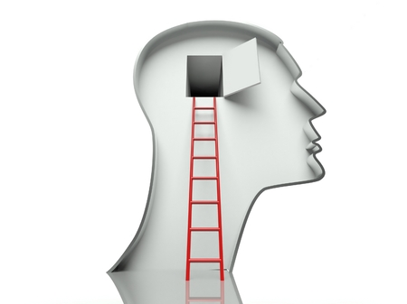 Door in human head and ladder, concept of open mind  photo
