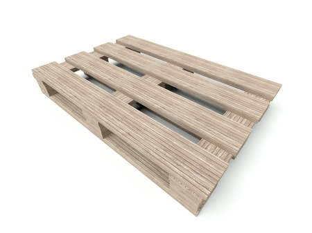 euro pallet: Wooden pallete from the warehouse isolated on white background Stock Photo