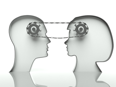 Gears and chain in heads, concept of teamwork and cooperation with communication