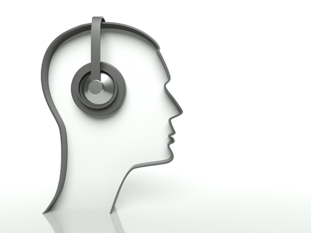 face with headset: Face profile with headset on white background, text space Stock Photo