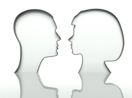 Man and woman faces profiles on white background photo