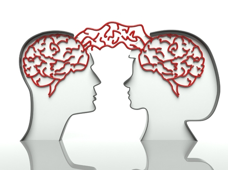 Man and woman faces profiles with connected brains, concept of communication photo