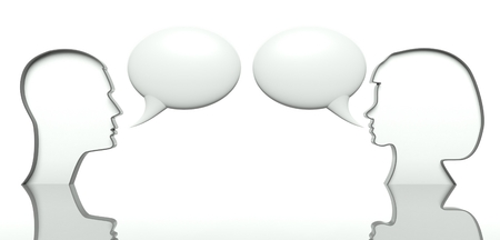 discourse: Man and woman faces profiles with speech bubbles for text, concept of communication Stock Photo