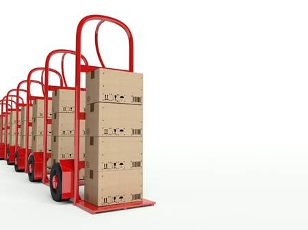 Row of hand trucks with cardboard boxes, background photo