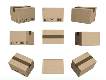 boxed: Set of icons, closed cardboard boxes isolated on white background Stock Photo