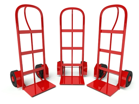 Three warehouse empty hand trucks isolated on white background photo