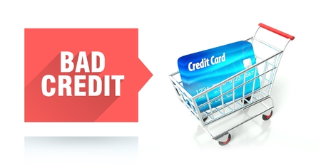 Bad credit score concept with shopping cart Stock Photo - 26323229