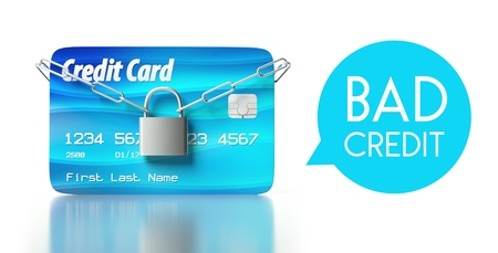 Bad credit score concept, card with padlock and chain Stock Photo - 26323231