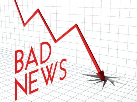 bad news: Bad news chart concept, crisis and down arrow
