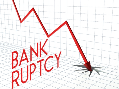 bankruptcy: Bankruptcy chart concept, crisis and down arrow Stock Photo