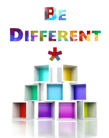 be different: Be different concept with colorful 3d design illustration Stock Photo