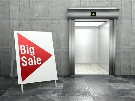 Big sale concept, Modern elevator with open door photo