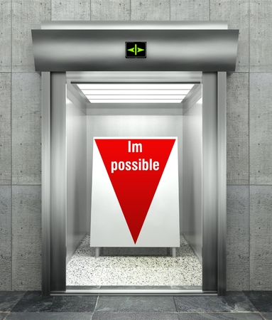 Business impossible concept, Modern elevator with red down arrow photo
