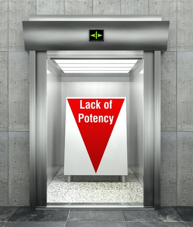 potency: Business lack of potency concept, Modern elevator with red down arrow