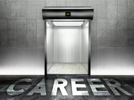 Career concept, Modern elevator with open door photo