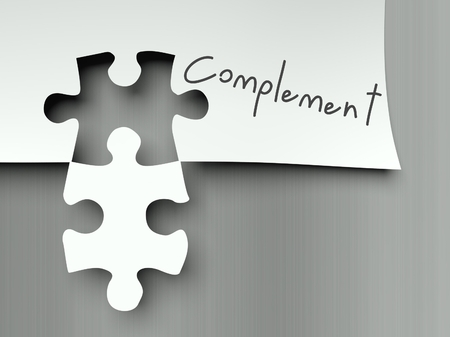 Complement concept with matching puzzle pieces