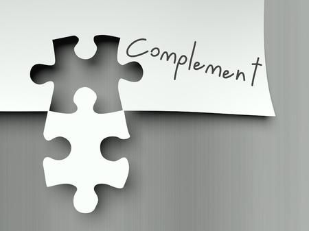 complemento: Complementar concepto se combina con los pedazos del rompecabezas Foto de archivo