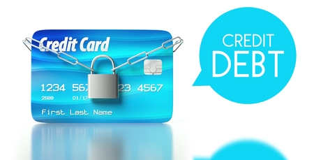 Credit debt concept, card with padlock and chain Stock Photo - 26323425