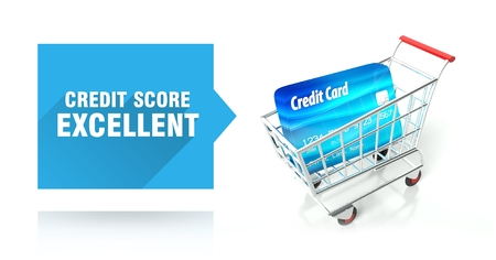 Credit score excellent concept with shopping cart photo