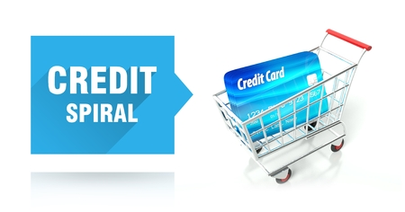 Credit spiral concept with shopping cart photo