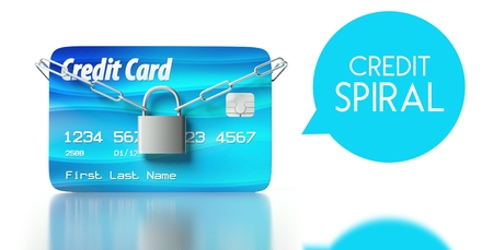 Credit spiral concept, card with padlock and chain photo