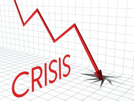 perdidas y ganancias: Crisis concepto gr�fico, de p�rdidas y ganancias y la flecha hacia abajo
