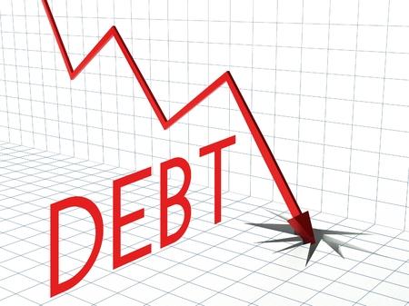 exchange loss: Debt chart concept, crisis and down arrow
