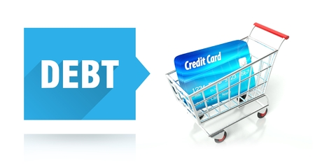 Debt concept with credit card and shopping cart photo