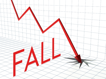 credit report: Fall chart concept, crisis and down arrow Stock Photo