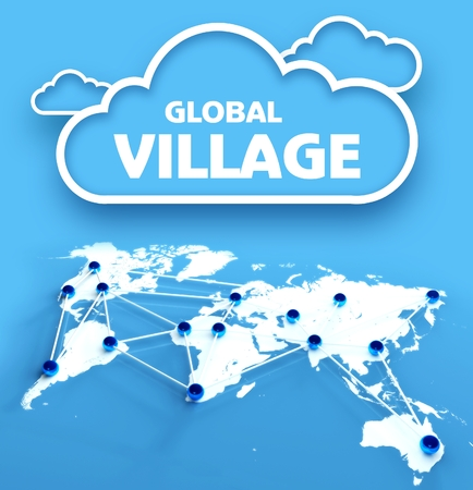 global village: Global village concept over communication world map Stock Photo