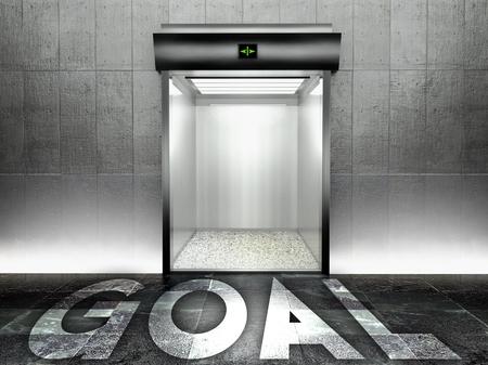 Goal concept, Modern elevator with open door photo